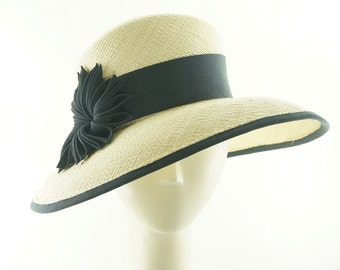 Natural Panama SUN HAT / Dark Blue Art Deco Trim / Handmade by Marcia Lacher Hats