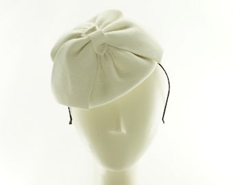 BRIDAL MINI HAT / Winter White Fascinator / Wedding Hat / Handmade by Marcia Lacher Hats