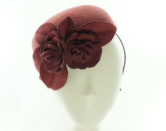 PILLBOX HAT for Women - Church Hat - Felt Hat - Brick Red Hat - Hanmdade Hat - Cocktail Hat - Wedding Hat  Felt Flowers