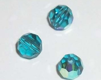 Preciosa Czech round crystal beads faceted Indicolite Blue AB -- available in 4mm, 6mm and 8mm