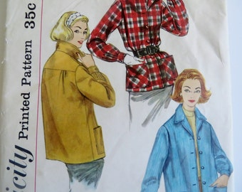 Sewing Pattern Coat Jacket Vintage UnCut 1950s Simplicity 2273 Winter Women Woman