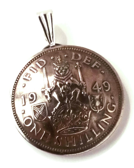 UK Scotland Shilling Coin Jewelry Pendant Vintage Necklace Scottish Crest Lion Crown Thistle Great Britain British English Teacher Gift