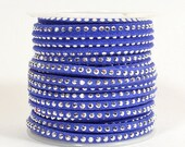 Faux Suede - 3mm Flat Studded - Sapphire - 5 Feet