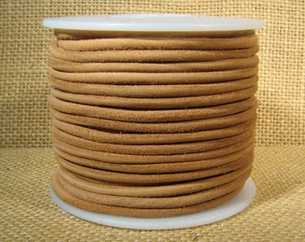 3mm Round Suede Cord - Natural - 3MRS-8 - Choose Your Length