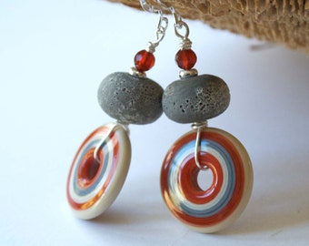 Target Earrings, Orange Gray Earrings, Circle Earrings, Lampwork Earrings, Glass Bead Earrings, Disc Earrings, Boho Chic Earrings