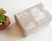DISCONTINUED - Potted Plants Gift Wrap Sheet - Wrapping Paper - all occasion - white on kraft - cactus - palm - succulent - modern