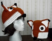 Foxy Hat, Hand Crochet, by AngelAndFairyDesigns on Etsy.com