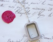 Keepsake Floating Memory Shake Locket w/Crystals Y Necklace - Stainless Steel, Yellow, or Rose Gold Plated - Round, Teardrop, Octagon Shapes