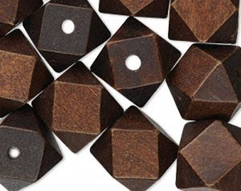 20mm x 20mm faceted,dark brown wood cubes, 10 pcs