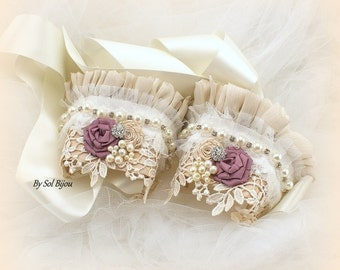 Lace Gloves, Wedding Cuffs, Ivory, Mauve, Champagne,Tan, Fingerless Gloves, Pearls, Crystals, Vintage Style, Elegant Wedding, Gatsby