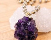 50 OFF SALE Raw Amethyst Crystal Necklace - Gold Pyrite Chain - Statement Jewelry