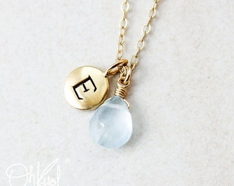 25% OFF Blue Aquamarine Necklace - March Birthstone - Initial Necklace, Personalized Jewelry