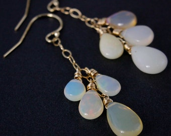 Gold Opal Dangle Earrings – Choose Your Stones