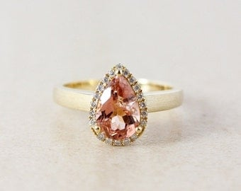 VALENTINES DAY SALE Champagne Pink Tourmaline and Diamond Engagement Ring - Halo - 10K Yellow Gold