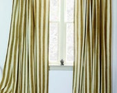 """SAMPLE SALE Gold Stripe window curtains window treatment curtain ONE panel - 57""""w x 96""""  Hand Block Printed with Natural dyes, Cotton"""