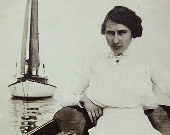 Vintage Photo Woman in Boat Sailboat Water Moody Ephemeral Rustic Decor Cottage Chic Cabin Wall Art.
