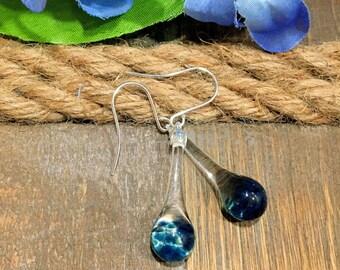Drop Earrings Blown Glass Crystal Blue Tear Drop Dangle Lampwork Boro and Silver