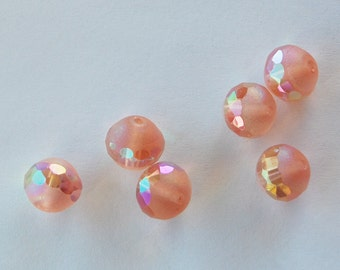 Vintage Czech Beads 6 Faceted Frosted Glass Beads Rose Pink Ab 10mm