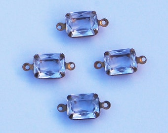 Vintage Clear Unfoiled Glass Beads Octagon Connectors 8x10mm