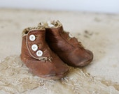 antique leather baby shoes