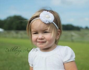 White Chiffon Flower Headband, Baby Headband, Flower Girl Headband, White Headband, Headband For Girls, Flower Headband, Photo Props,