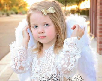 Gold Glitter Hair Bow, Gold Hair Bow, Hair Bow, Piggy Tail Bow, Holiday Hair Bow, Hair Bows For Girls, Christmas Glitter Hair Bows