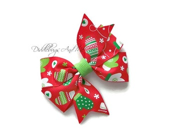 Mittens Hair Bow, Holiday Hair Bow, Girls Christmas Mittens Hair Bow,  Christmas Bow, Piggy Tail Hair Bows, Toddler Hair Bows, Holiday Bows