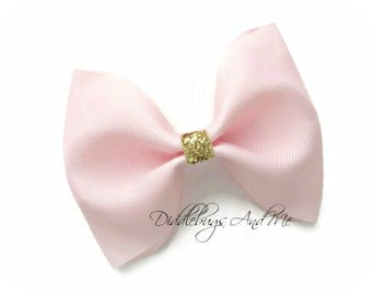 Large Pink and Gold Hair Bow, Pink Hair Bow, Girls Gold and Pink Hair Bow, Flower Girl Pink Hair Bow, Hair Bows For Girls, Toddler Hair Bows