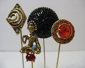 vintage stick pin collection antique victorian stick pin lot snake pin jeweled pin beaded pin