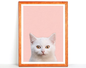 Printable SMILING WHITE CAT Printed Wall Art Cute Happy Animal Smile Beautiful Pink Nursery Print 8x10 16x20 11x14 Din A Instant Download