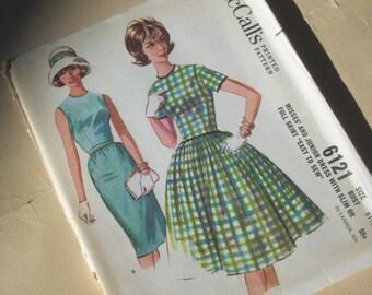 Retro 60's Slim or Full Skirt Dress Pattern / Size 11 / UNCUT