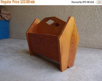 SALE SALE SALE Vintage Mid Century Magazine Rack Holder Solid Wood Handmade Diamond Home Decor