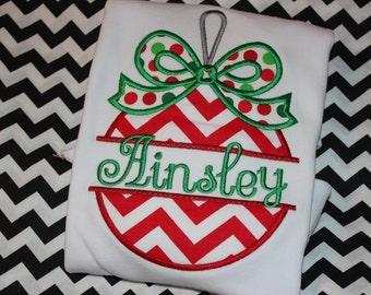 Split Christmas ornament tshirt, ruffle shirt, or dress- personalized