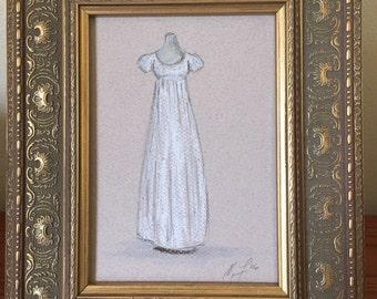 Regency Evening Gown. Original Pastel Drawing.  Framed.