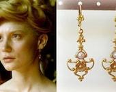 SALE! Edith Cushing Crimson Peak White Pearl Gold Filigree Flower Earrings- e670