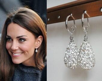Kate Middleton Inspired Pave Crystal Silver Teardrop earrings