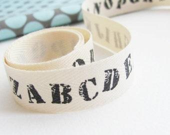 Ribbon- Twill Tape Cotton Trim- ABC alphabet