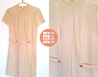 Smart Vintage 60s Mod Cream Knit Scooter Wool Shift Dress with Brass Buttons!