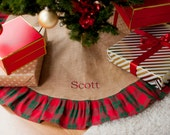 Christmas Tree Skirts Burlap Plaid Striped Plain