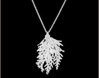 Real Cypress Leaf Dipped In Silver Pendant - Real Dipped Leaf - In Gift Box
