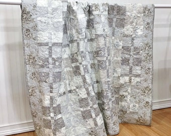 Throw Quilt Evening Mist HANDMADE Patchwork Quilt Moda White Grey Modern 62x68""
