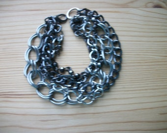 "Multi Chain Mixed Metals Bracelet  6""  Industrial   SIlver Gunmetal Copper"