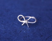 Bow Ring, Silver Ring, Bridesmaid Jewelry, Delicate Ring