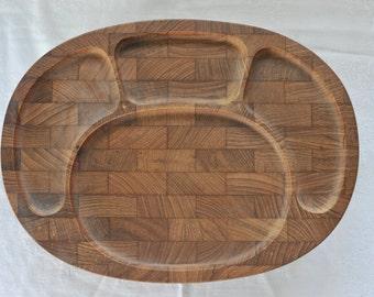 One Digsmed Danish Teak Divided Plate, Teak Platter, Wooden Wood Teak Desk Organizer, Mid Century Teakwood Scandinavian Kitchen Platters