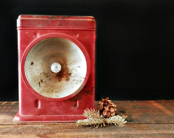 Antique Hand Lantern, Redbird Electric Lantern, Delta Electric Company, Rustic Woodland Decor, Red Camping Decor