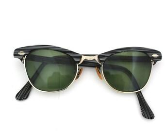 Rare Womens 1950s Hornrimmed Eyeglasses // 50s Vintage Frames // Marbled Black and White // Art Craft USA/rh550