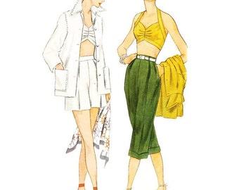 1950s Bikini Top Shorts Pedal-pushers Beach Jacket Simplicity Patterns 3250 B32 Sz 14