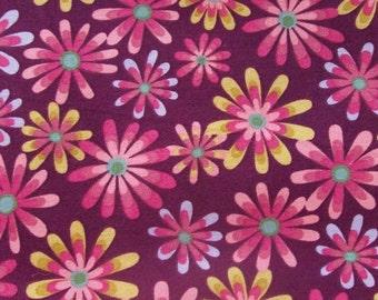 SALE - Flower Power Magenta 100% Cotton Fabric - 1/2 Yard                                                                 2016