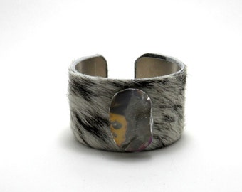 """leather cuff bracelet  - black and white cowhide with druzy- 1.5"""" wide"""