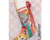 christmas stocking out of vintage patchwork quilt